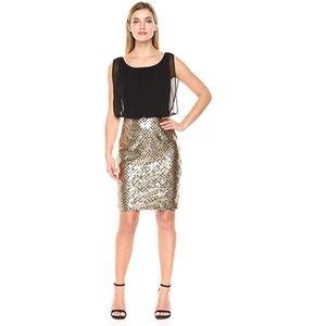 NWT Calvin Klein Gold Sequins Blouson Dress 10